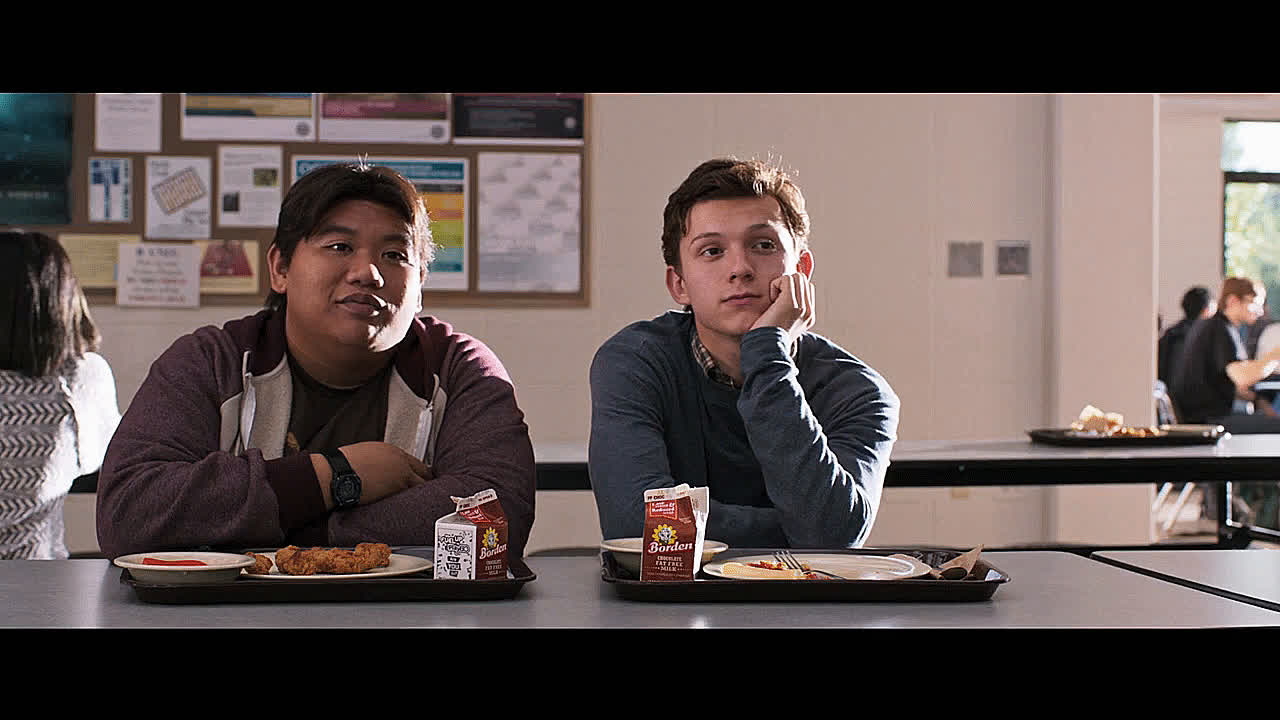 Tom Holland, daydreaming, dreaming, interested, interesting, jacob batalon, ned leeds, peter parker, reaction, spider man homecoming, spider-man homecoming, spiderman homecoming, stare, staring,  GIFs