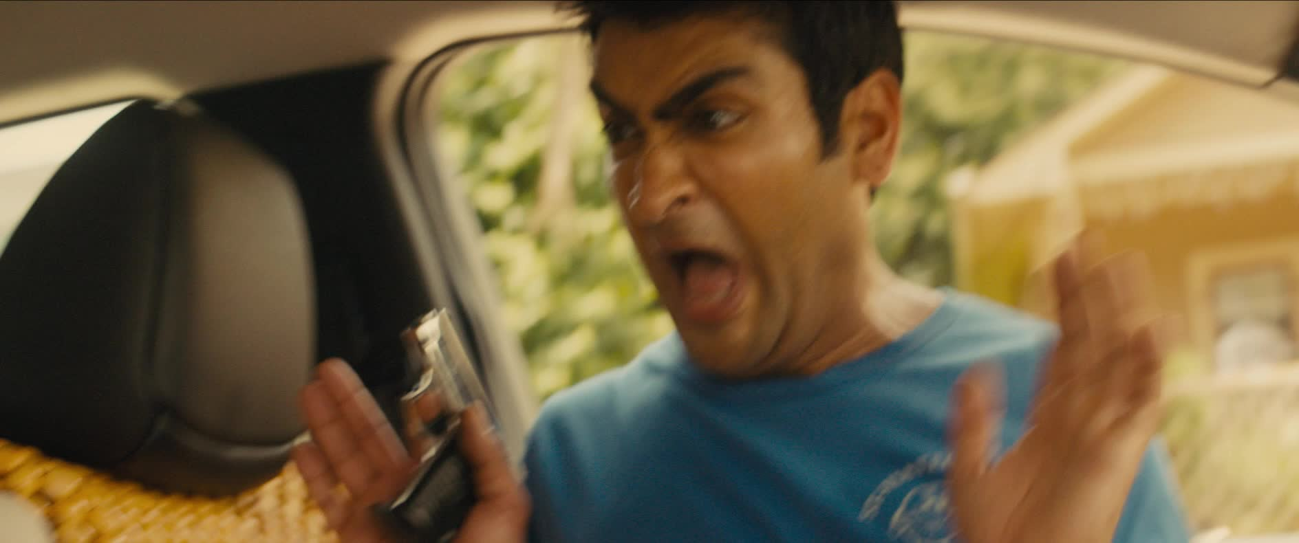 kumail nanjiani, oh my god, oh my gosh, omg, scared, scream, stuber, stuber movie, Kumail Nanjiani Screaming GIFs