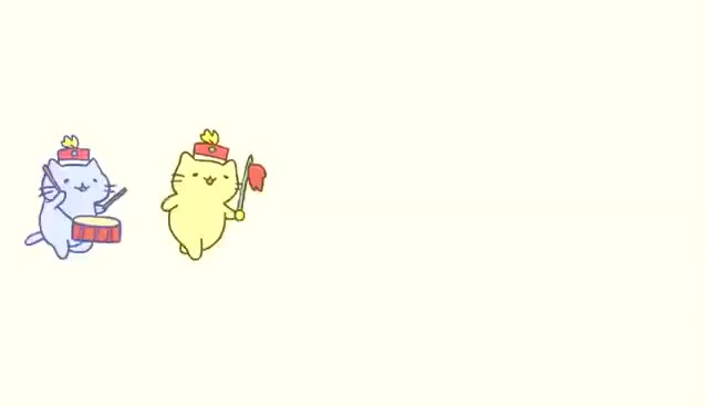 Watch and share みっちりねこマーチ - MitchiriNeko March - Cute Cat Characters In A Marching Band! GIFs on Gfycat