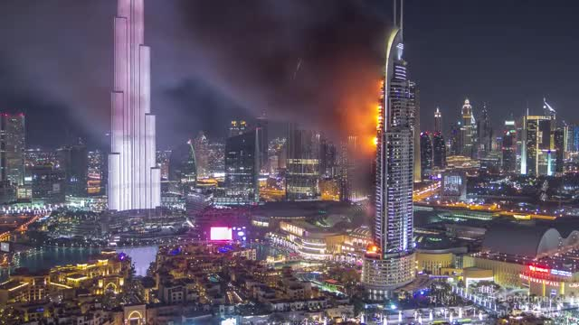 Watch Huge Fire at The Address Downtown Dubai Luxury Hotel timelapse GIF by solateor (@solateor) on Gfycat. Discover more dubai, fire, gifs GIFs on Gfycat