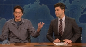 colin jost, mine, nevercomestheday, pete davidson, saturday night live, snl, snl40, snl40.21, snlseason40, weekend update,  GIFs