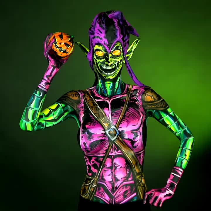 bodyart, bodypaint, comicbookmakeup, comicmakeup, cospaint, cosplay, facepaint, goblin, greengoblin, halloween, marvel, marvelcomics, mua, sfx, sigmapro, spiderman, streamer, twitch, twitchcreative, twitchtv, Green Goblin I painted Live on 🎨 https://www.twitch.tv/kaypikefashion 🎨 Join me Today Halloween OCT 31st for a special Bonus Bodypaint! Th GIFs