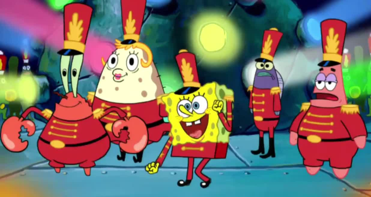 awesome, band, best, bowl, celebrate, dance, day, ever, excited, funny, gang, halftime, happy, positive, smile, spongebob, squarepants, super, yay, yeah, SpongeBob Appears in Super Bowl Halftime Show GIFs