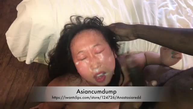 asiancumdump eats BBC cum off her hand like a cat