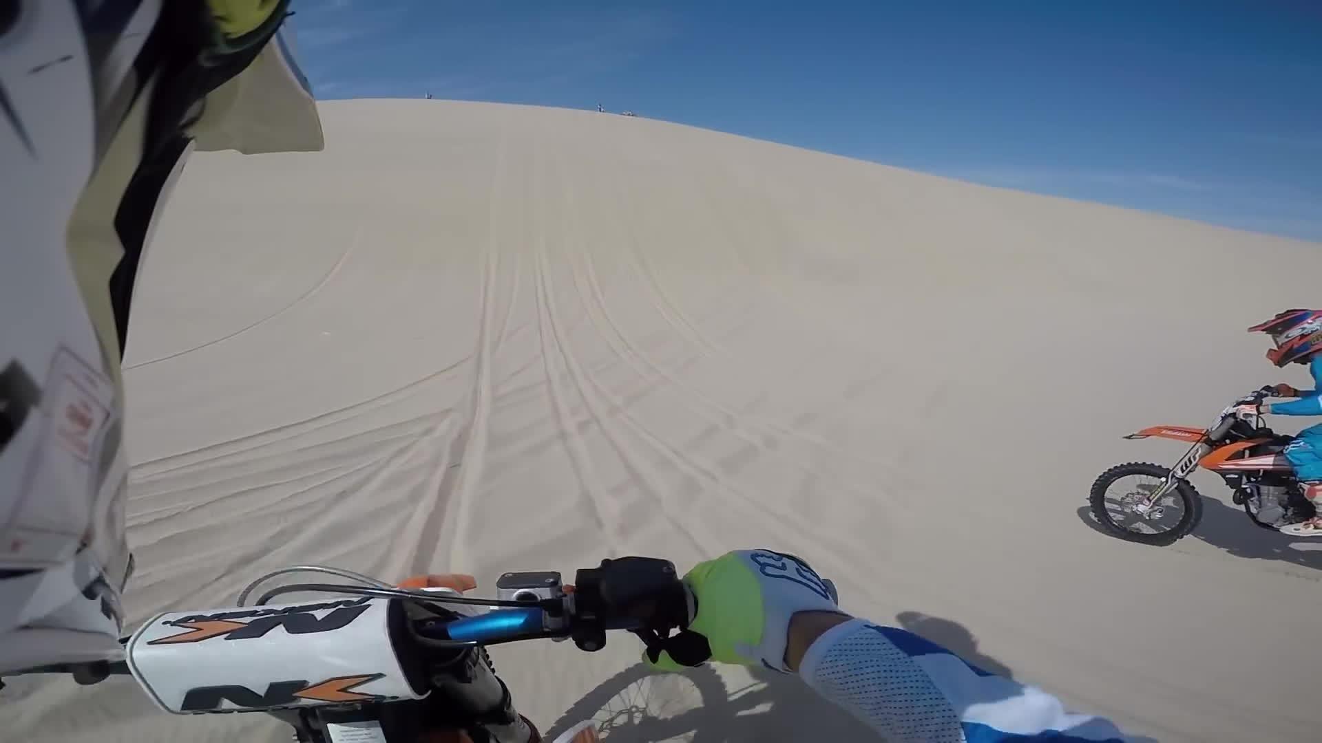 dashcamgifs, 100ft Dirt bike dune jump landed onto Jeep wrangler hood GIFs