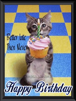 bday, belated, belated birthday, birthday, happy birthday, Belated Birthday Images at Birthday-Graphics.com GIFs