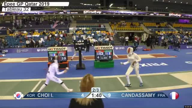 Watch CHOI L 5 GIF by Scott Dubinsky (@fencingdatabase) on Gfycat. Discover more gender:, leftname: CHOI L, leftscore: 5, rightname: CAN DASSAMY, rightscore: 9, time: 00021425, touch: left, tournament: doha2019, weapon: epee GIFs on Gfycat