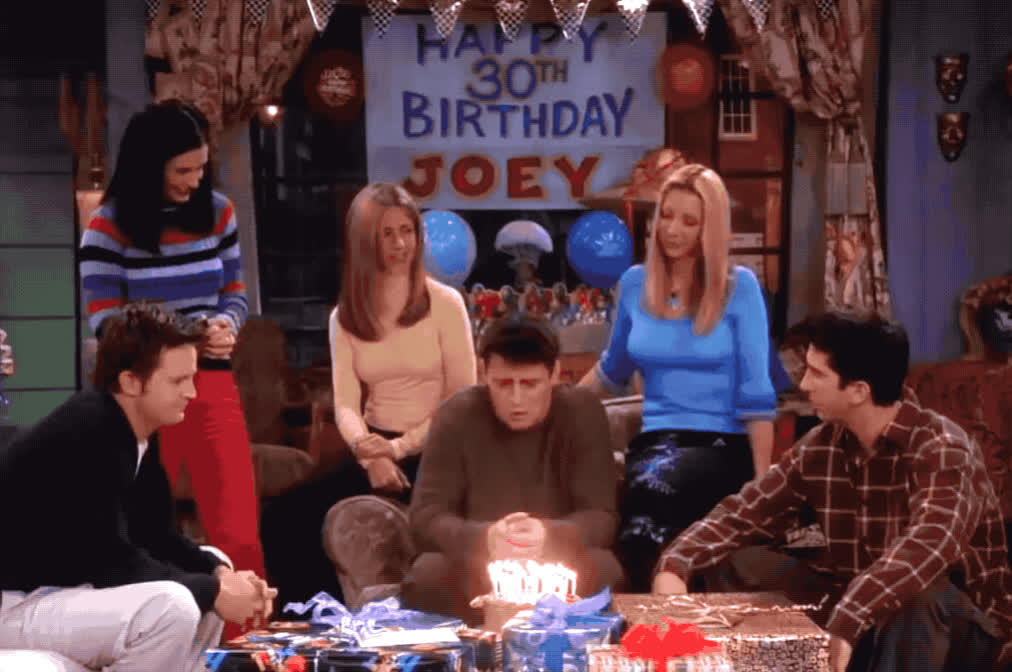 30, bday, birthday, cake, candles, celebrate, celebrating, deal, friends, get, getting, god, happy, happy birthday, joey, never, old, party, sad, thirthy, Joey turns 30 GIFs