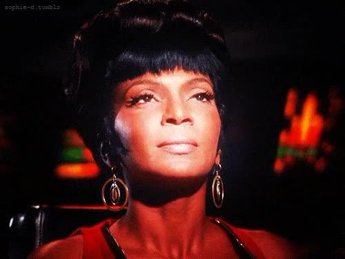 Watch this GIF on Gfycat. Discover more Commander Uhura, Lietenant Uhura, NASA, Nichelle Nichols, Star Trek, Star Trek: The Original Series, Starpower, Uhura, actress, actresses, singer, singers GIFs on Gfycat