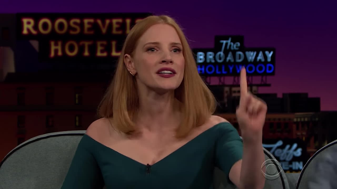 colbert, james corden, jessica chastain, the late late show, Jessica Chastain Is Matchmaking for Her Grandmother GIFs