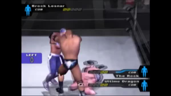 Watch and share The Rock N' Brock Connection Wombo Combo The Fuck Out Of The Ultimate Dragon In The 2015 Rumble Marathon. (reddit) GIFs by megasuperultrathingy on Gfycat