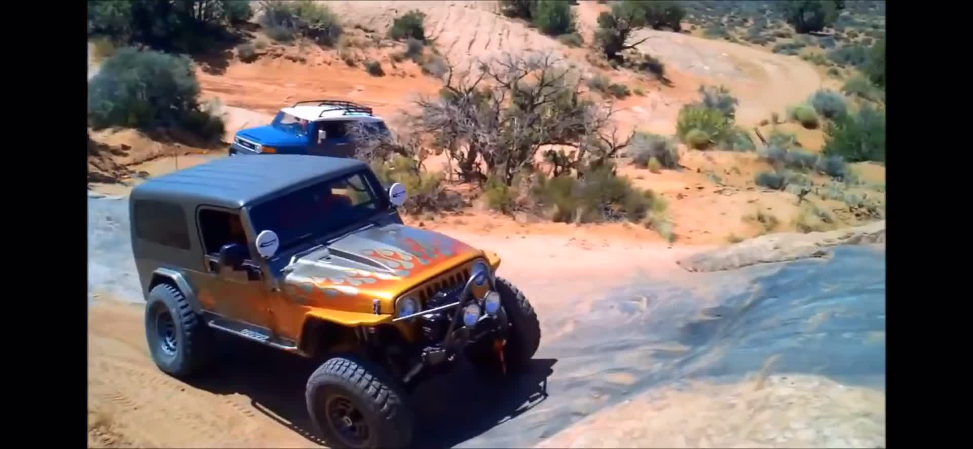Piecesofbits, Driver flips Jeep while off-roading with their dog. GIFs