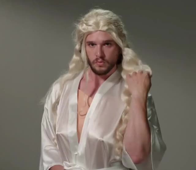 Watch this sexy GIF by ioanna on Gfycat. Discover more Kit Harington, blonde, flirt, funny, game, game of thrones, got, harington, hey, impression, jimmy, khaleesi, kimmel, kit, sexy, there, thrones GIFs on Gfycat