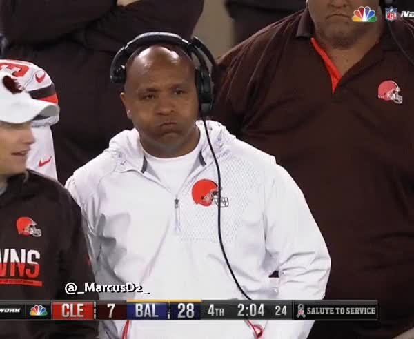 Watch and share Hue Jackson Reaction On The Sideline As The Cleveland Browns Lose Again. GIFs by MarcusD on Gfycat
