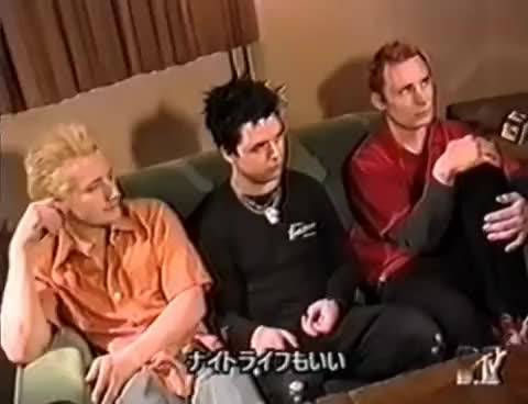 Watch this trending GIF on Gfycat. Discover more Billie Joe, Green Day, Mike Dirnt, Tre' Cool, funny, interview, lol, old times GIFs on Gfycat
