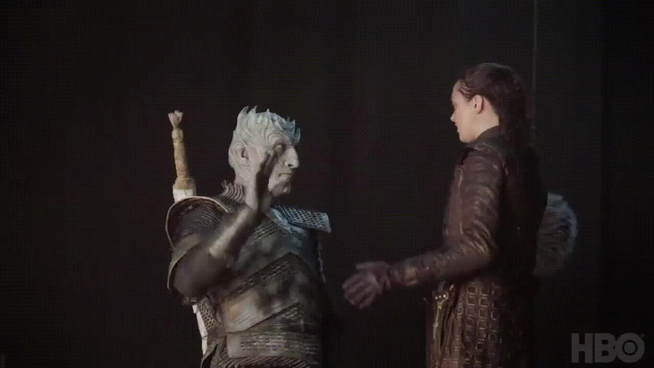 arya stark, game of thrones, high five, night king, High Five Arya Stark Night King GIFs