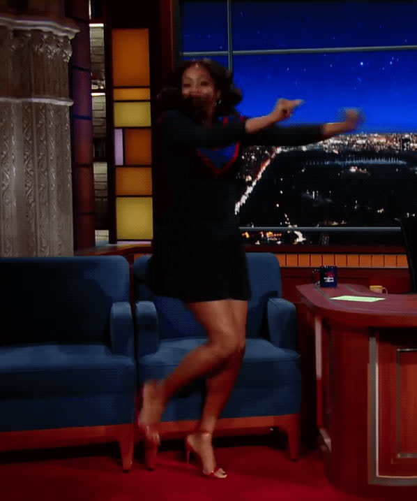 Tiffany Haddish, dancing, happy, late show, running man, Tiffany Haddish Running Man GIFs