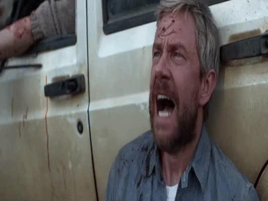 Watch Ahhh! GIF by Bob (@bobtheb1976) on Gfycat. Discover more Ahhh, Cargo, Freakingout, Martin Freeman, Scream, Screaming, Zombies GIFs on Gfycat