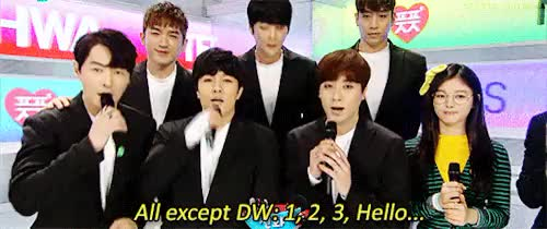 Watch It's not a Shinhwa greeting without Dongwan someone messing  GIF on Gfycat. Discover more alright, comeback, donggumong, dongwan, i caught u, inkigayo, interview, kim dongwan, shinhwa, sniper GIFs on Gfycat