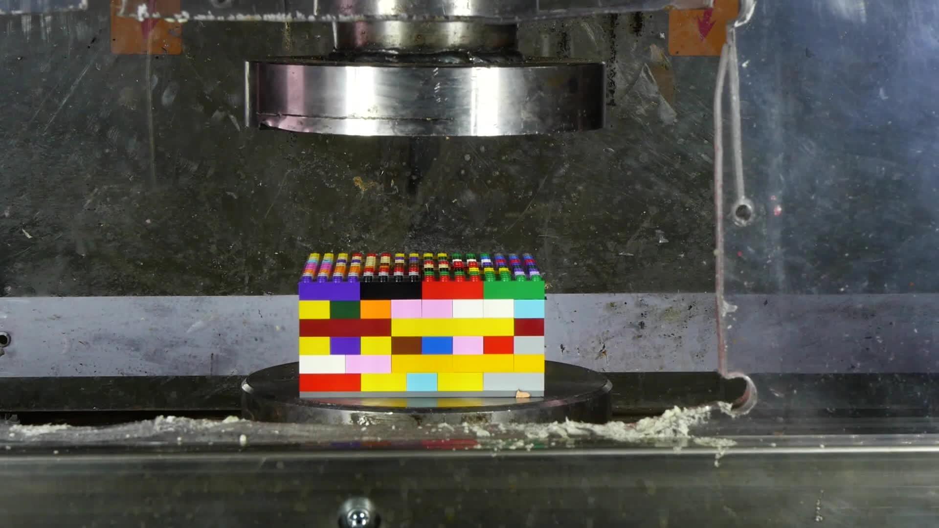 hydraulic press channel, hydraulicpresschannel, lego, Crushing Lego with Hydraulic Press GIFs
