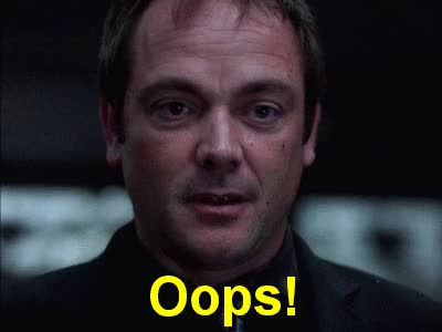 Watch this oops GIF by Miss GIF (@mizznaii) on Gfycat. Discover more Mark A. Sheppard, crowley, oops, supernatural GIFs on Gfycat