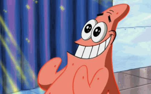 excited, happy, joy, patrick, spongebob, star struck, Patrick Happy GIFs