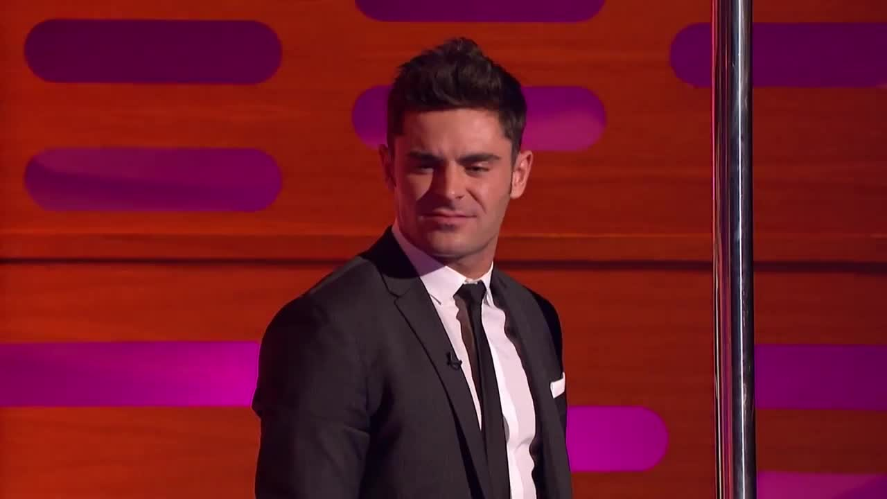 gif brewery, zac efron, zac-efron-pole-dances-the-graham-norton-show, Zac Efron head bob GIFs
