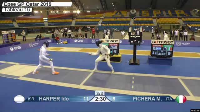 Watch HARPER Ido 11 GIF by Scott Dubinsky (@fencingdatabase) on Gfycat. Discover more gender:, leftname: HARPER Ido, leftscore: 11, rightname: FICHERA M, rightscore: 10, time: 00024694, touch: right, tournament: doha2019, weapon: epee GIFs on Gfycat