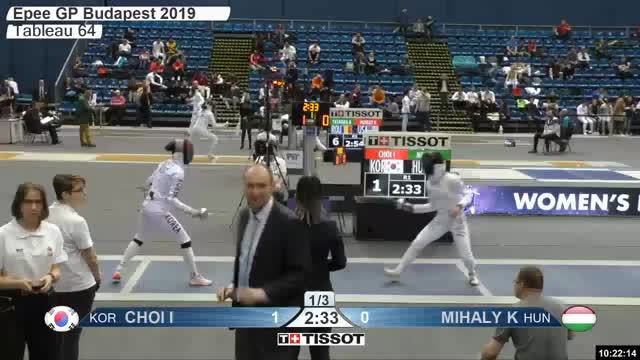 Watch CHOI I 2 GIF by Scott Dubinsky (@fencingdatabase) on Gfycat. Discover more gender:, leftname: CHOI I, leftscore: 2, rightname: MIHALY K, rightscore: 1, time: 00007309, touch: double, tournament: budapest2019, weapon: epee GIFs on Gfycat