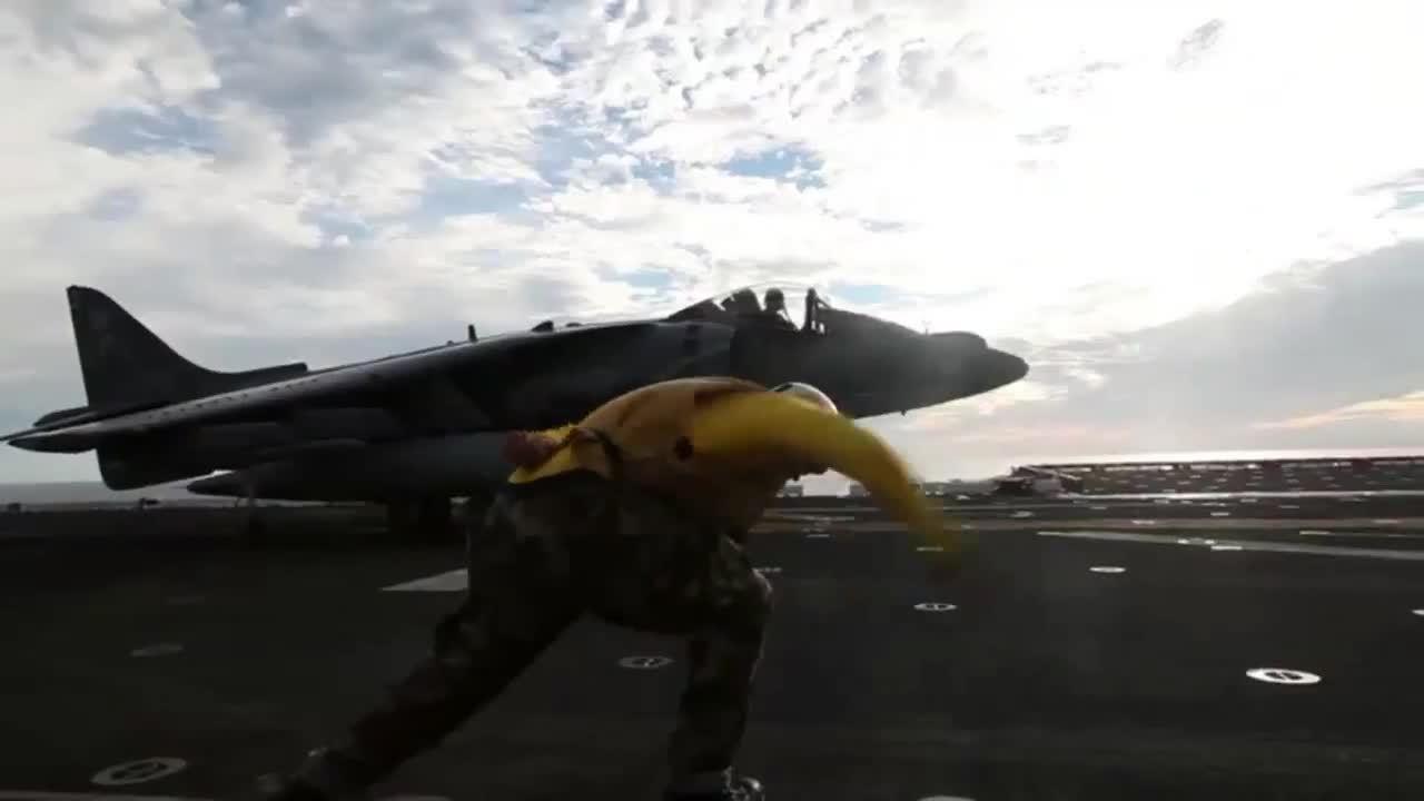 WarplaneGfys, warplanegfys, Marine Corps AV-8B Harrier Launched From Deck of USS Bataan! (reddit) GIFs