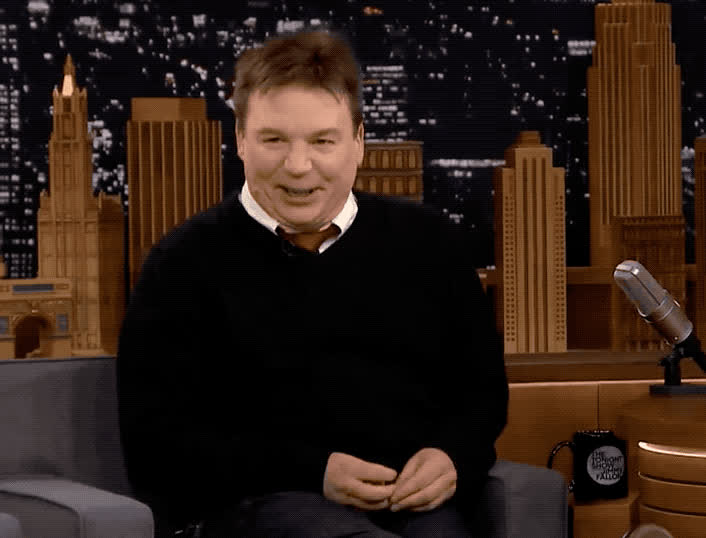 austin, aww, awww, cute, fallon, jimmy, laugh, laughing, mike, myers, powers, show, sweet, thank, thanks, tonight, you, Mike Myers cute laughing GIFs