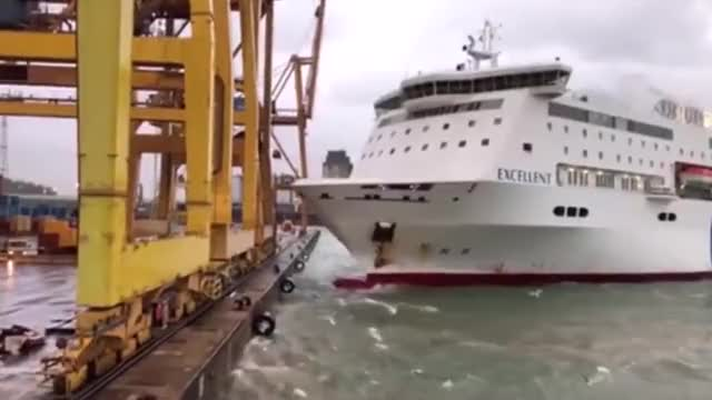 Watch Ship crashes into crane at port causing huge fire GIF on Gfycat. Discover more accident, brexit, firefighters GIFs on Gfycat