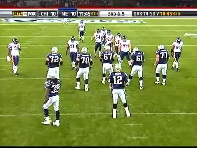 tom brady jukes out brian urlacher for the first down GIFs