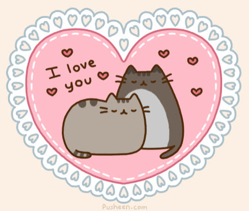 I love you, animation, asleep, cat, cats, couple, heart, hearts, i, kitten, love, pet, pusheen, sleep, together, u, ya, you, Pusheen - I love you GIFs