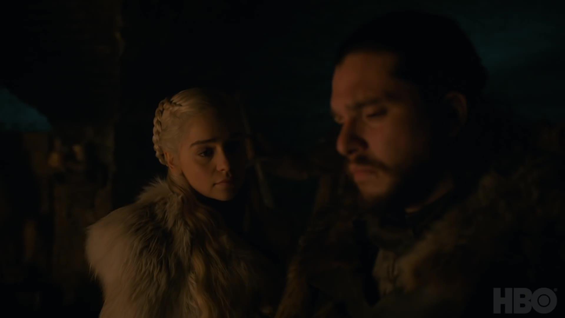 daenerys targaryen, game of thrones, gameofthrones, hbo, jon snow, kit harington, season 8, television, Jon and Daenerys Game of Thrones GIFs