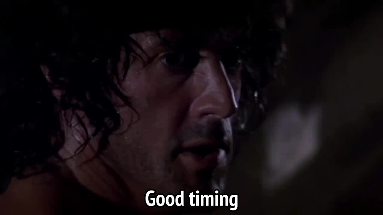 good timing, rambo, right on time, sylvester stallone, timing, Rambo - Good timing GIFs