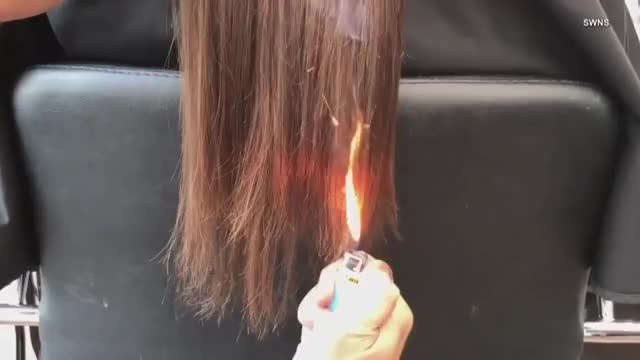 Watch California Hair Stylist Sets Client's Hair on Fire to Get Rid of Split Ends GIF on Gfycat. Discover more Dangerous, Fire, california, cat-offbeat, cut, hair, inside_edition, keleigh, nealon, offbeat, strange, style GIFs on Gfycat