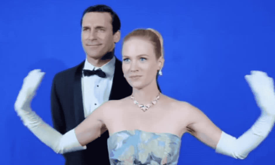 adios, birdie, bye, bye bye, couple, cu, cute, farewell, goodbye, hamm, january, jon, jones, later, madmen, parody, see, wave, waving, you, January Jones & Jon Hamm Bye Bye Birdie GIFs