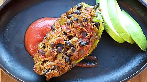 GifRecipes, vegangifrecipes, Stuffed Peppers GIFs