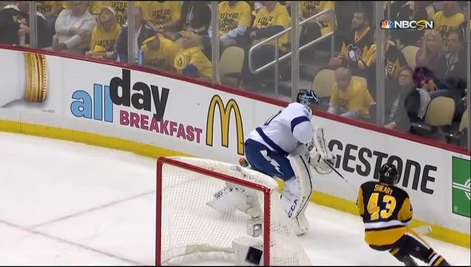hockeyplayers, penguins, tampabaylightning, Bishop Injury against the Penguins GIFs