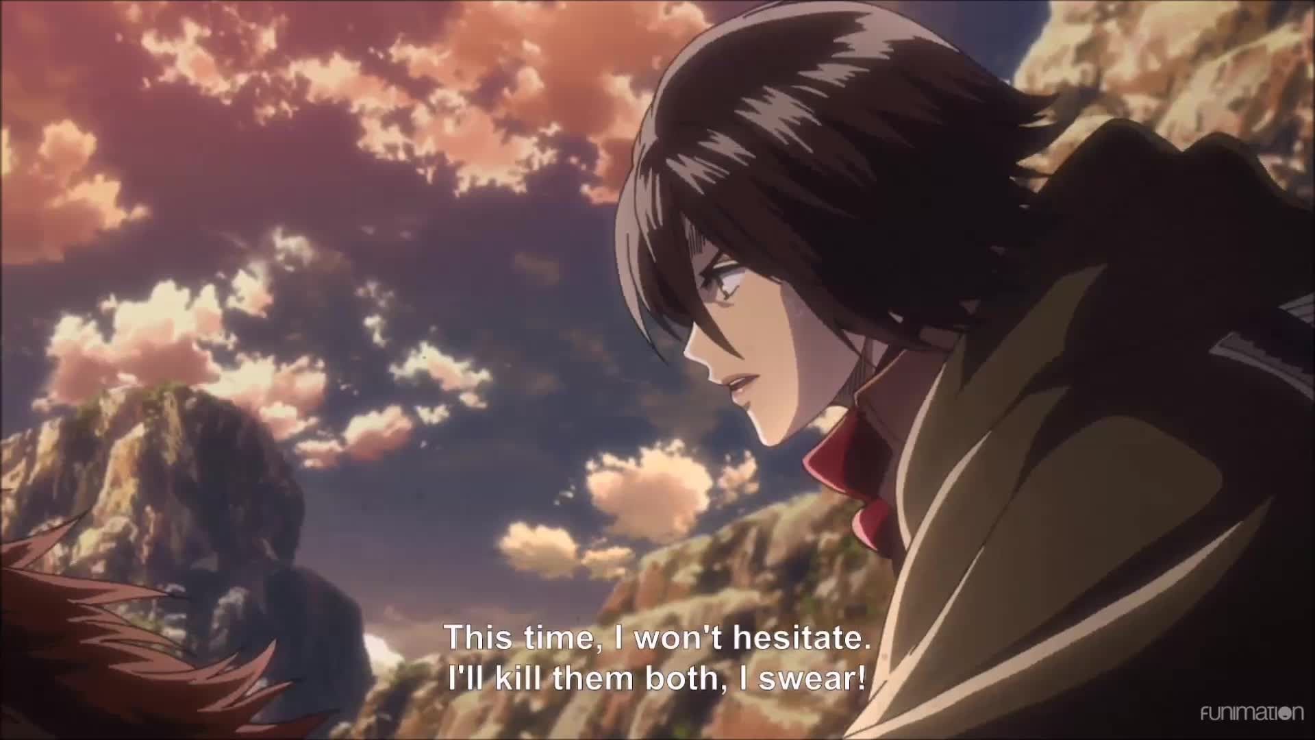 anime, attack on titan, attack on titan episode 36, attackontitan, attackontitanepisode36, dark fantasy, funimation, post apocalyptic, shingeki no kyojin, shinkgekinokyojin, shounen, shounen anime, steampunk, You know you messed up when Mikasa wants to kill you. Attack on Titan Ep 36 GIFs