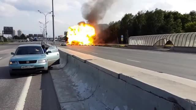Watch and share Gas Tanks Explode On Highway GIFs on Gfycat