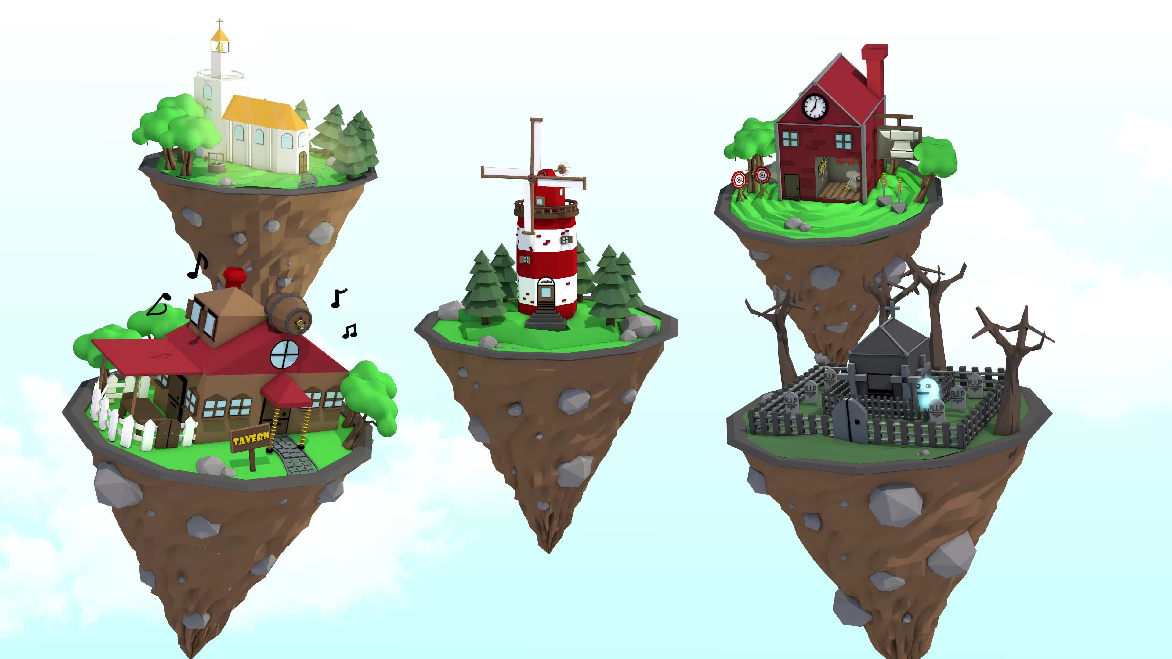 adobe, after, low_poly, Low Poly - Flying Village GIFs
