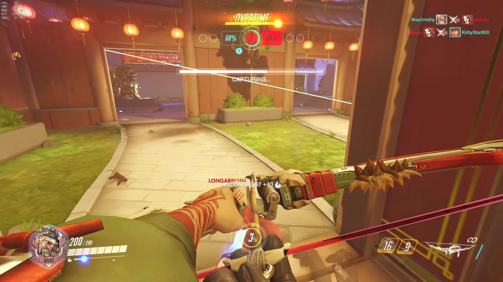 60fpsgaminggifs, Overwatch: Hanzo playing the objective (Slowmo) GIFs