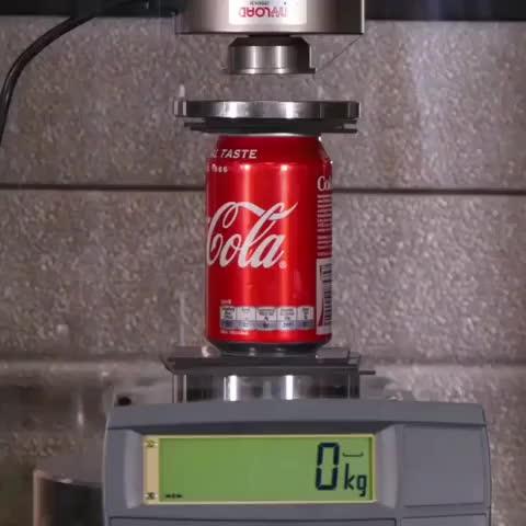 hightimes, ifyouhigh, interestingasfuck, interestingfacts, oddlysatisfying, oddlysatisfyingvideo, woah#chills, woahdude, woaheverything, woahman, Hydraulic press vs. a Coke can. . . . . GIFs