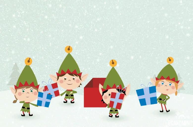 Christmas, Happy, Hi, Laughing, Xmas, ecard, Christmas Elfs Gif GIFs
