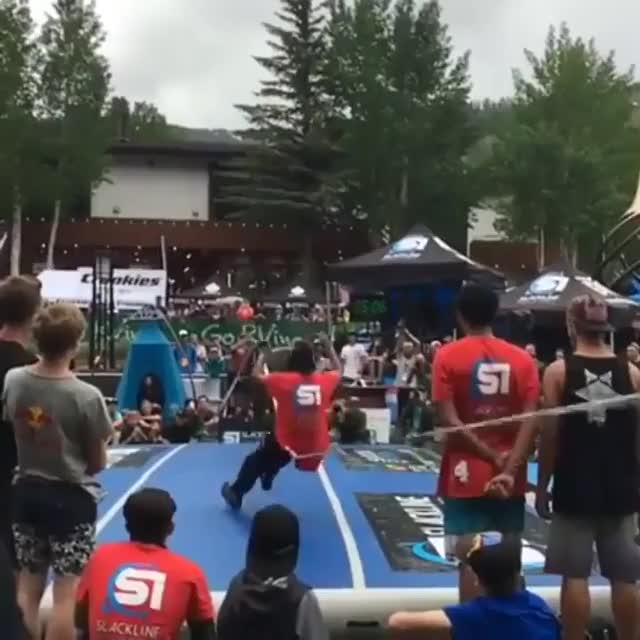 Watch and share Awesome Slack Line Dismount GIFs by tothetenthpower on Gfycat