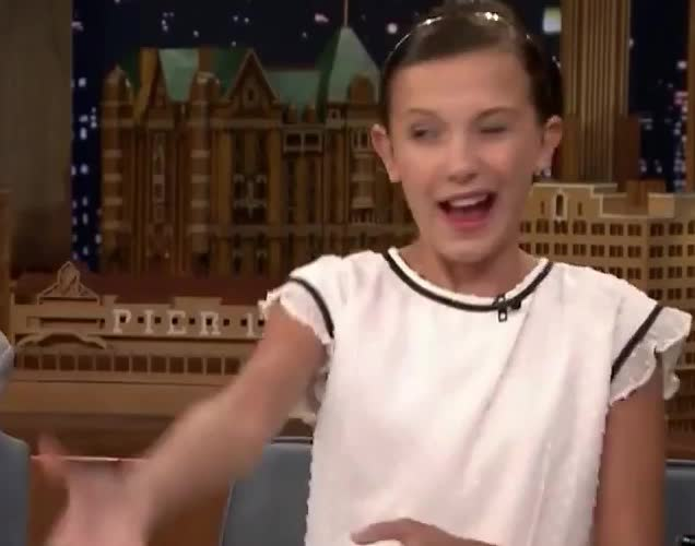 11, Millie Bobby Brown, bobby, brown, cute, eleven, flirt, fun, funny, it, millie, stop, stranger, sweet, tease, teasing, things, wink, winking, Cute Millie Bobby Brown GIFs