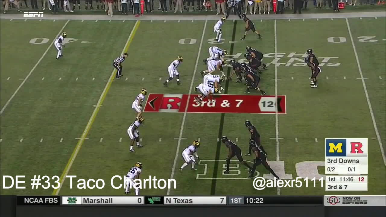 Taco Charlton vs. Rutgers (2016) GIFs