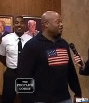 Watch and share Guy Cracks Best 'deez Nuts' Joke Ever On People's Court Reporter GIFs on Gfycat
